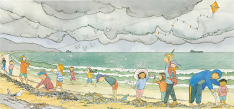 'We Walk When It's Cloudy and Grey' by Alison Lester from her book 'Magic Beach' (Allen & Unwin). Giclee print from the original pencil and watercolour on watercolour paper. Print price $250